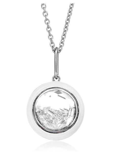 Moritz Glik palladium round enamel and diamond shaker necklace in silver