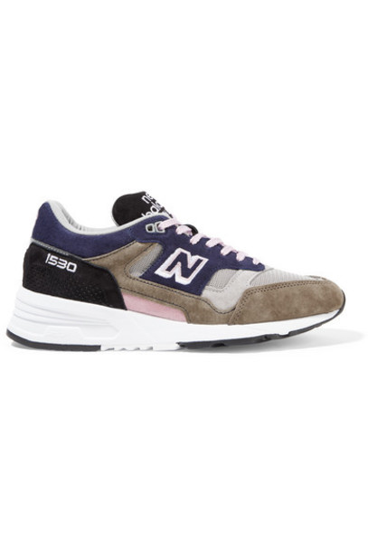 New Balance - 1530 Mesh And Suede Sneakers - Midnight blue
