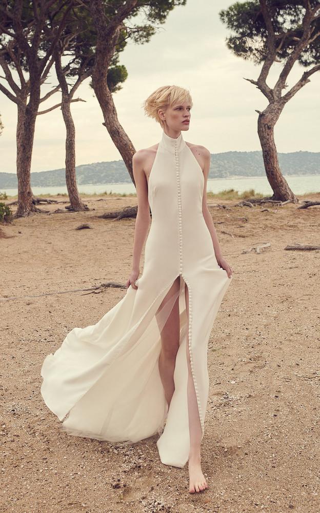 Costarellos Button-Front Silk Crepe Halter Gown in white