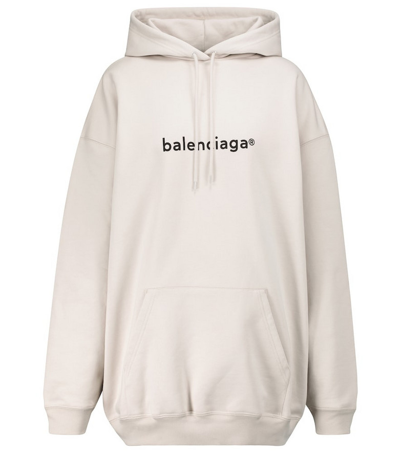 Balenciaga Logo cotton hoodie in grey