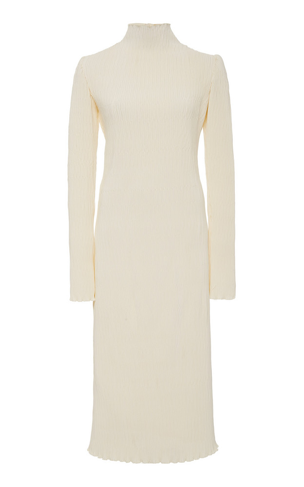 Danielle Frankel Adrienne Pleated Silk and Wool Midi Dress Size: 4 in white