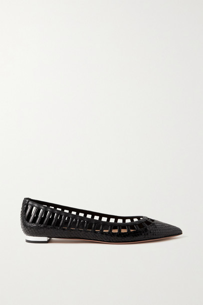 AQUAZZURA - Le Parisien Ballet Snake-effect And Smooth Leather Point-toe Flats - Black