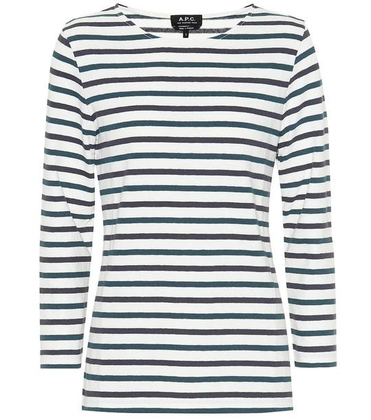 A.P.C. Catarina striped cotton top in white