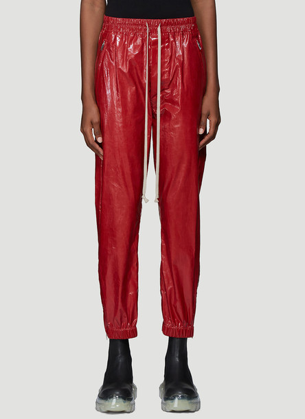 Rick Owens Zip Cuff Track Pants in Red size IT - 40