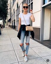 jeans,ripped jeans,skinny jeans,white sneakers,chanel bag,denim jacket,white t-shirt