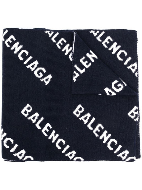 Balenciaga all-over logo scarf in blue