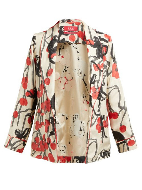 F.r.s - For Restless Sleepers - Armonia Pyjama Tie Waist Jacket - Womens - Red Multi