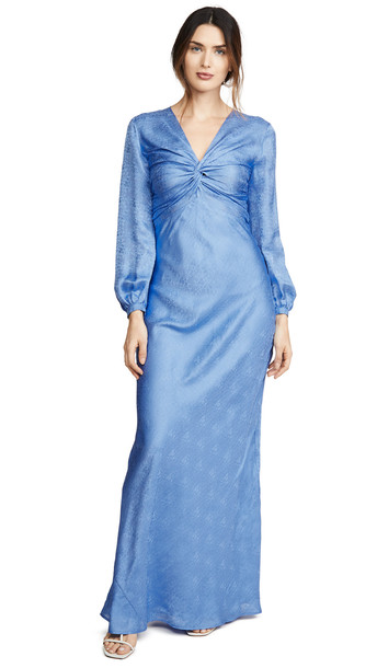 Rebecca De Ravenel Sienna Knotted Gown in blue