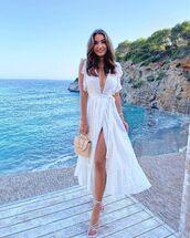 dress,white dress,lace dress,wrap dress,white sandals,handbag