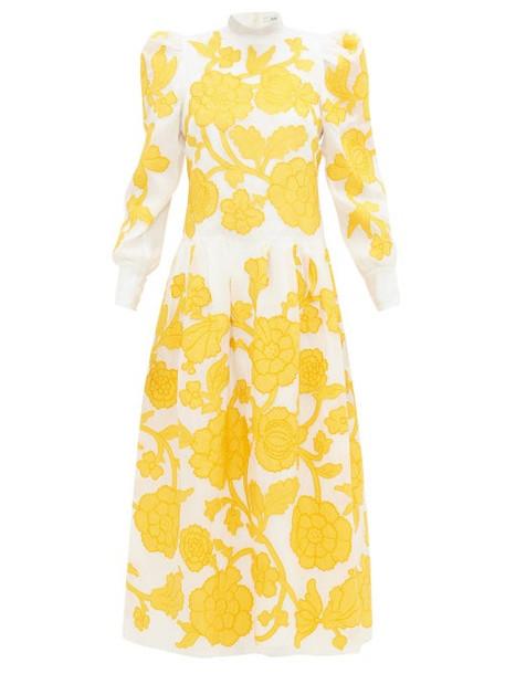 Erdem - Josefina Floral-appliqué Silk-organza Gown - Womens - Yellow White