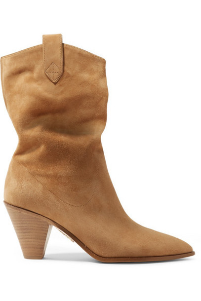 Aquazzura - Boogie 70 Suede Ankle Boots - Sand