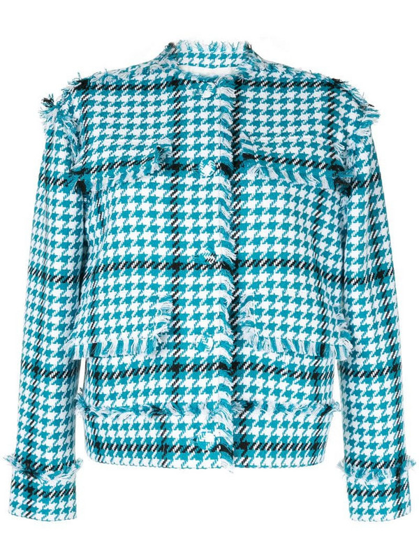 MSGM houndstooth pattern jacket in blue