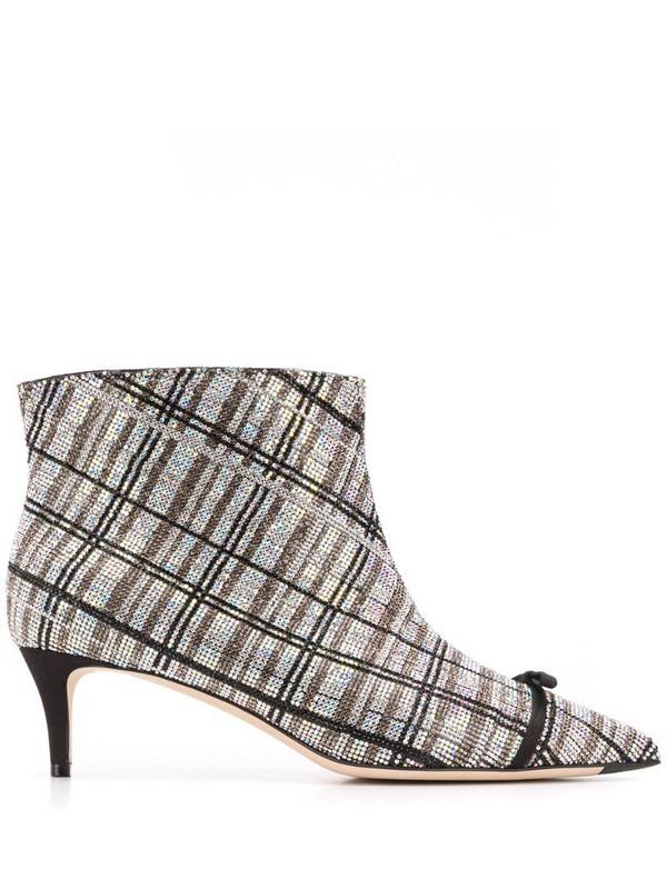 Marco De Vincenzo rhinestone stripe boots in silver