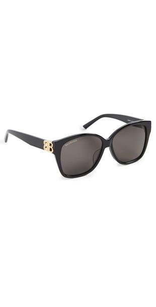 Balenciaga Dynasty Square Sunglasses in black / gold / grey