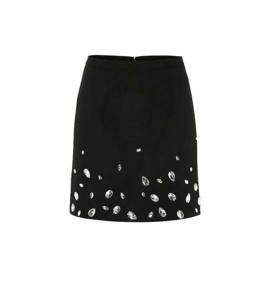 Christopher Kane Crystal-embellished crêpe miniskirt in black