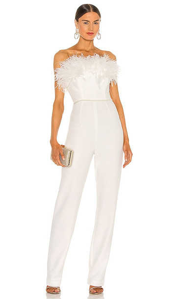 Bronx and Banco Lola Blanc Feather Jumpsuit in White