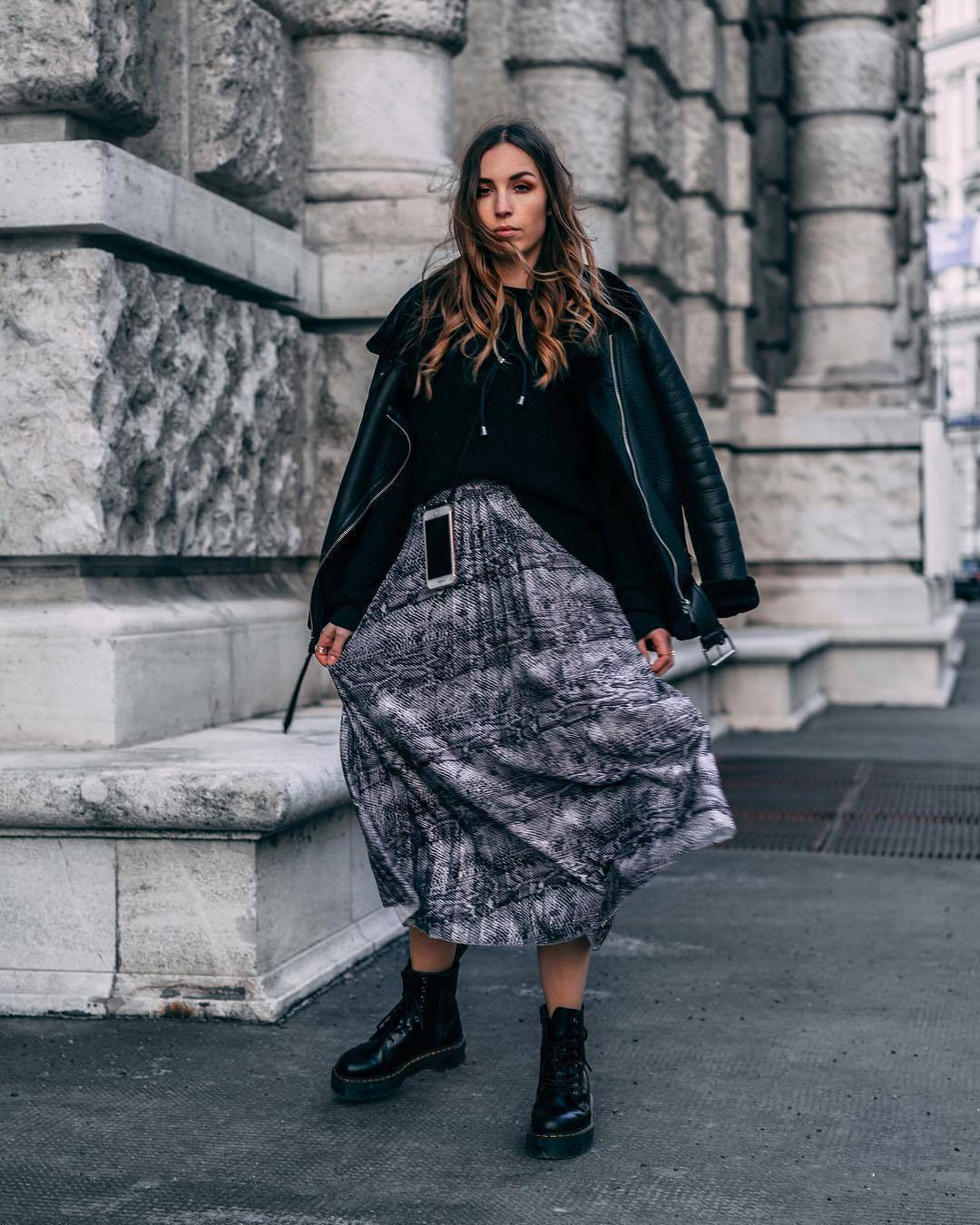 skirt midi skirt snake print grey skirt pleated skirt black boots ankle boots lace up boots platform shoes black jacket black shearling jacket black sweater