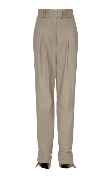 Proenza Schouler Tie-Detailed Leather Trousers Size: 0 in grey