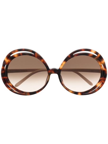 Linda Farrow tortoiseshell oval frame sunglasses in brown