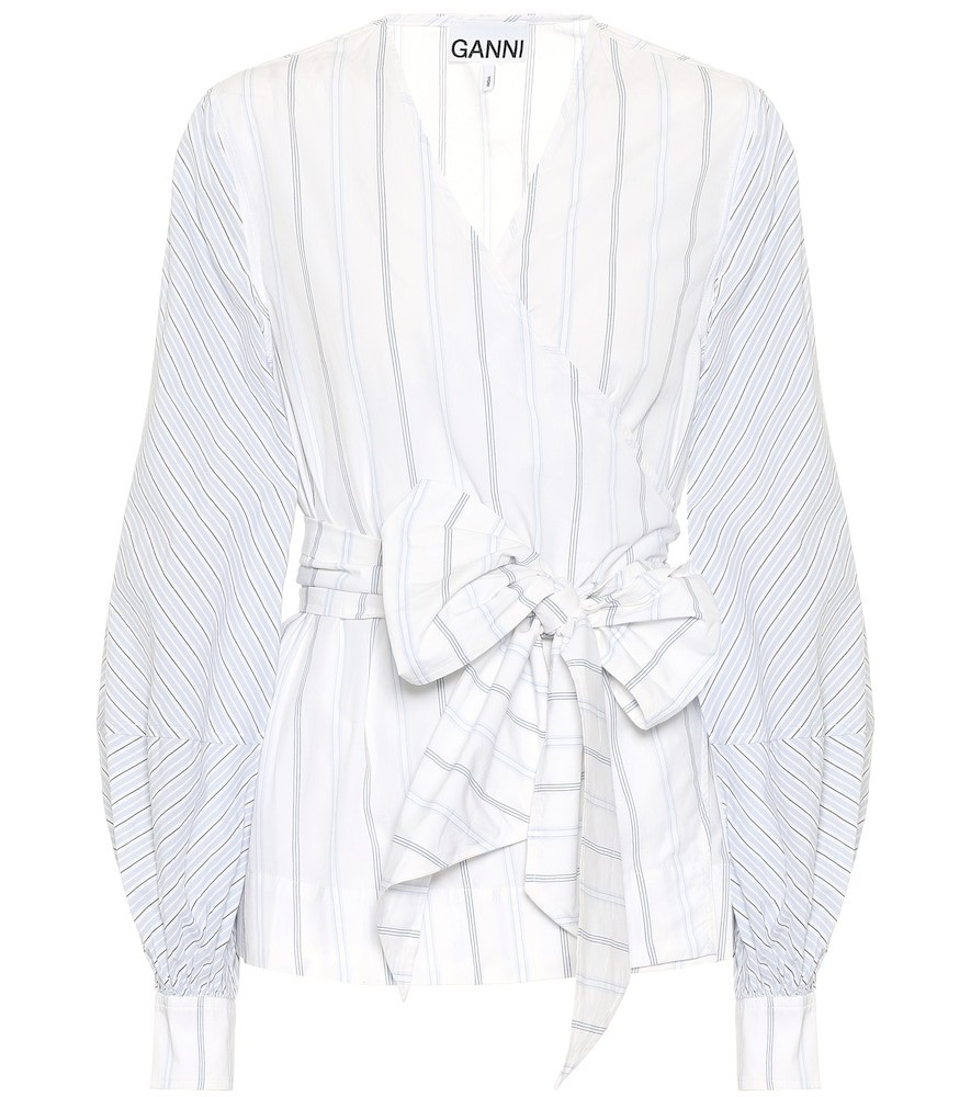 Ganni Striped cotton wrap shirt in white