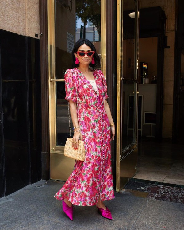 dress floral dress short sleeve dress midi dress mules crossbody bag