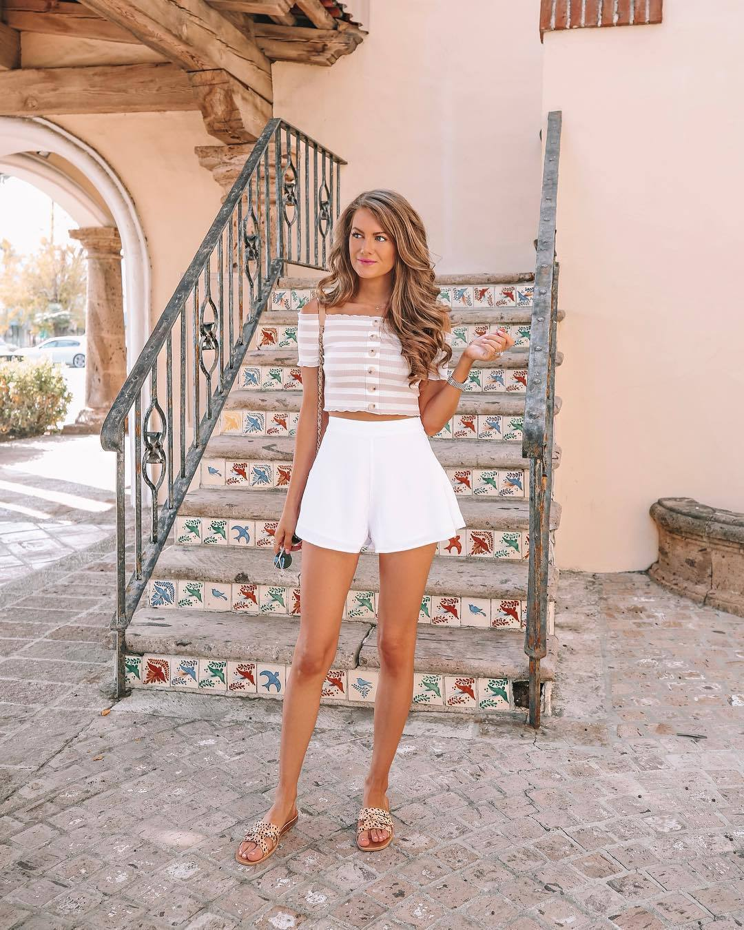top cropped tank top crop tops striped top slide shoes white shorts High waisted shorts