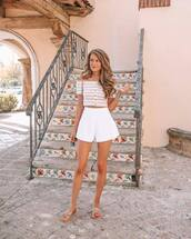 top,cropped tank top,crop tops,striped top,slide shoes,white shorts,High waisted shorts