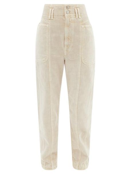 Isabel Marant Étoile - High-rise Paper-bag Waist Tapered-leg Jeans - Womens - Beige