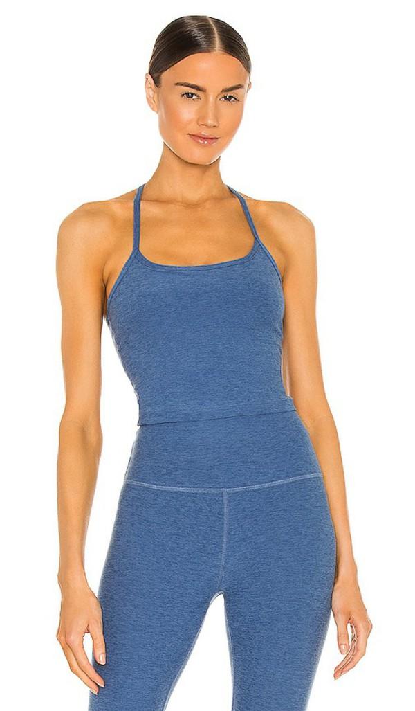 Beyond Yoga Spacedye Slim Racerback Tank in Blue in denim / denim