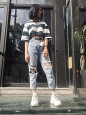 shirt,korean fashion,korean style,korean dress,stripes,crop tops