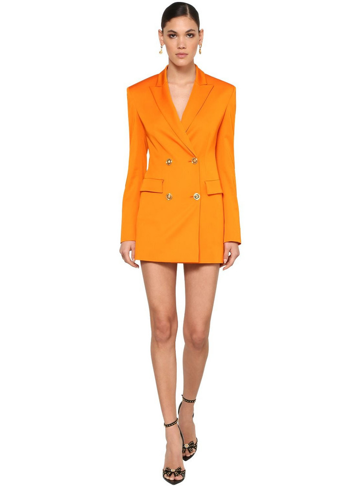 VERSACE Stretch Wool Blend Gabardine Mini Dress in orange
