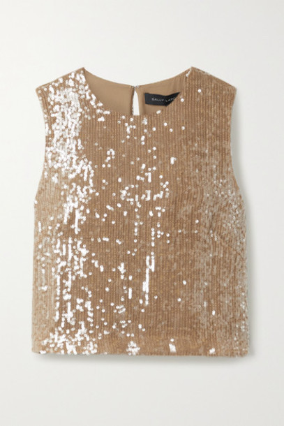 Sally LaPointe - Cropped Paillette-embellished Georgette Top - Light brown