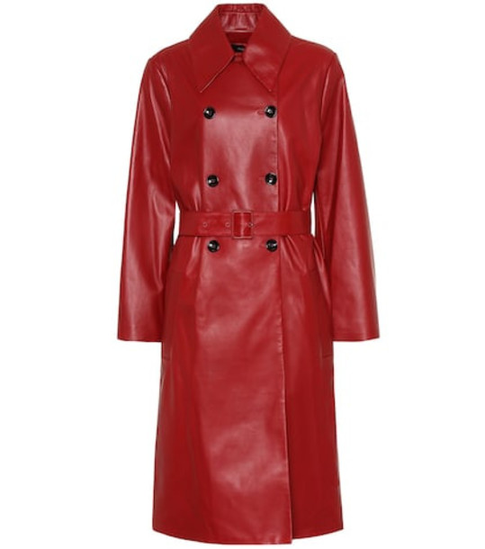 Joseph Romney leather trench coat in red