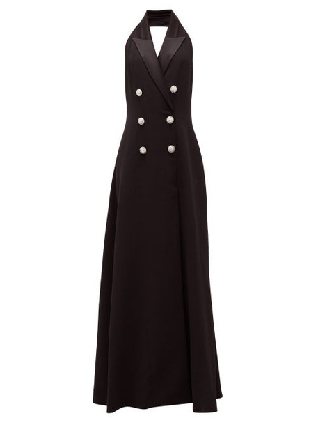Balmain - Halterneck Double-breasted Crepe Gown - Womens - Black