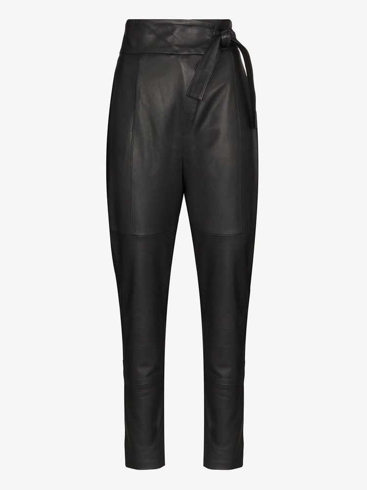 Skiim Kelly waist tie leather trousers in black