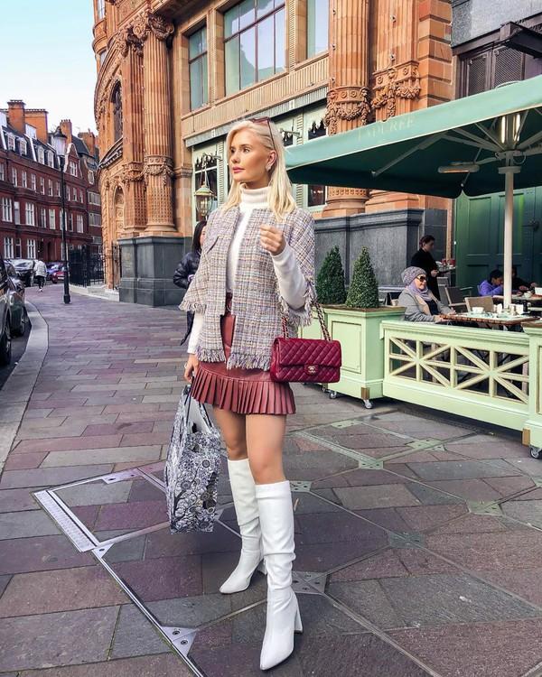 skirt mini skirt leather skirt red skirt white boots knee high boots plaid blazer bag chanel bag white turtleneck top