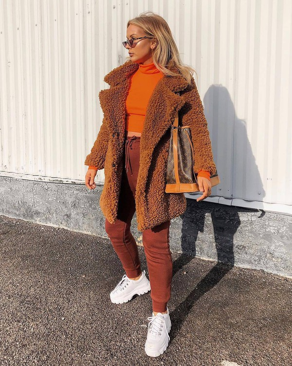 top turtleneck white sneakers platform sneakers joggers teddy bear coat brown bag louis vuitton bag