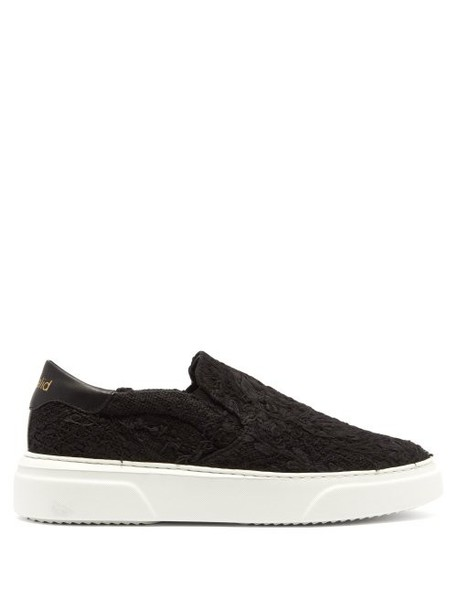 By Walid - 19th Century French Lace Low Top Trainers - Womens - Black