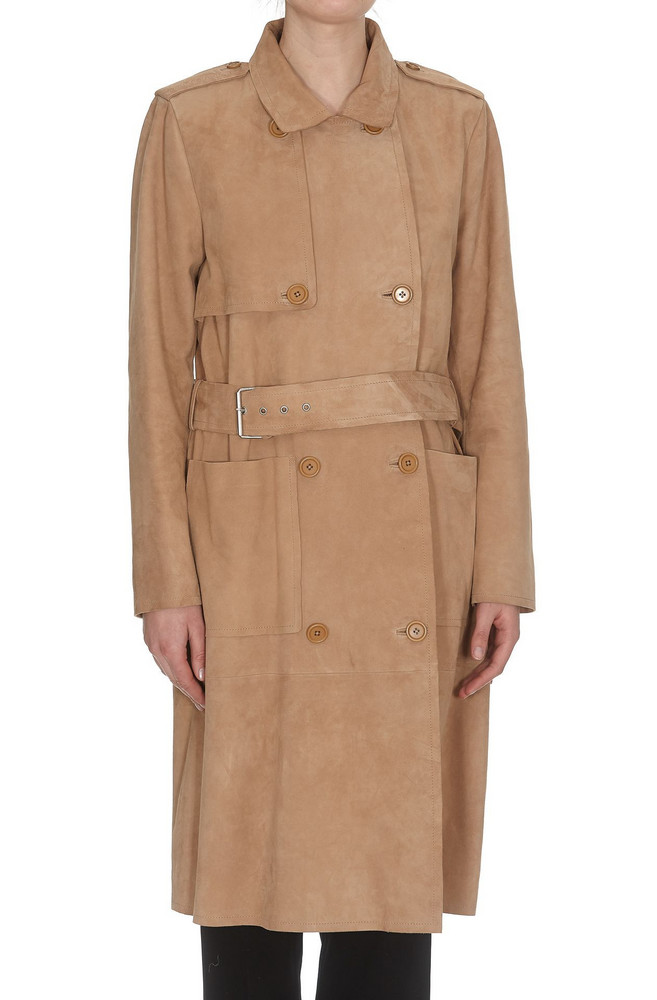 Stand Leather Trench in sand