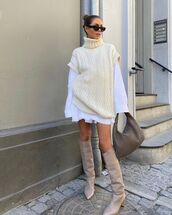 shoes,knee high boots,sweater,turtleneck sweater,white shirt,white skirt,bag