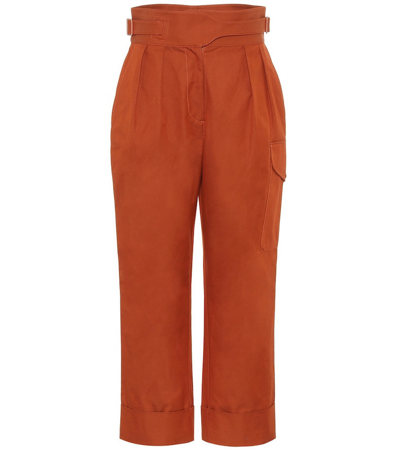 See By Chloé High-rise cotton cargo pants in orange