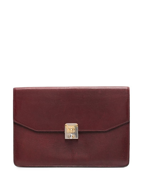 Céline Pre-Owned engraved logo flap clutch in red