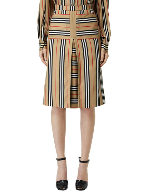 BURBERRY Check Print Techno Twill Skirt in beige