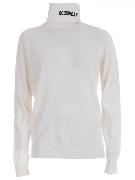 GCDS Sweater L/s Turtle Neck Logo On Neck in white