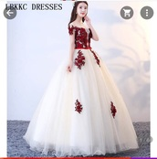 dress,red dress,rose,prom gown,prom dress,sweet 16 dresses,ball gown dress,korean fashion,fancy dress,champagne,lace dress,lace
