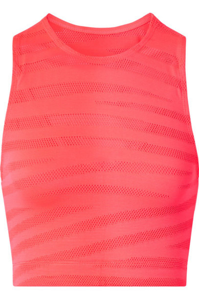 Adam Selman Sport - Racer Paneled Neon Stretch-mesh Sports Bra - Bright pink