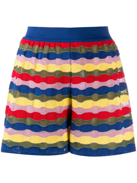 M Missoni embroidered colour-block shorts in blue