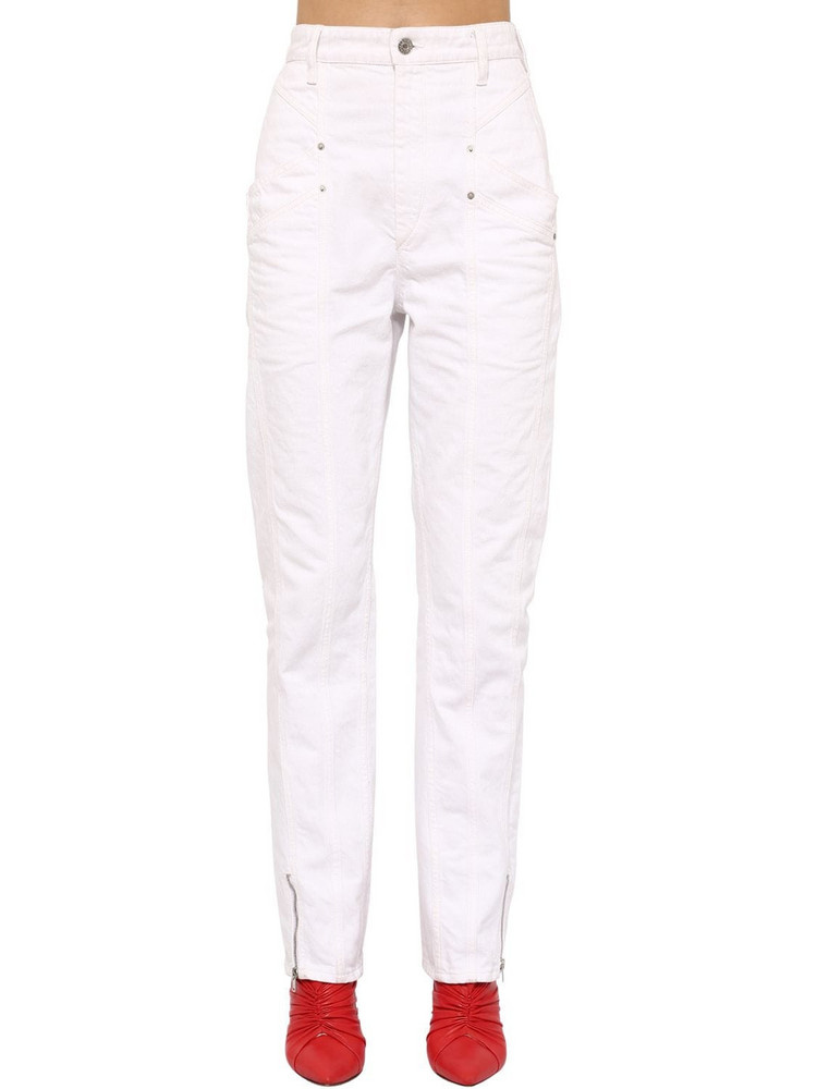 ISABEL MARANT Kelissa Straight Leg Cotton Denim Jeans in ivory
