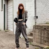 jacket,grey blazer,ralph lauren,high waisted pants,grey pants,black belt,black bag,black turtleneck top,cropped turtleneck