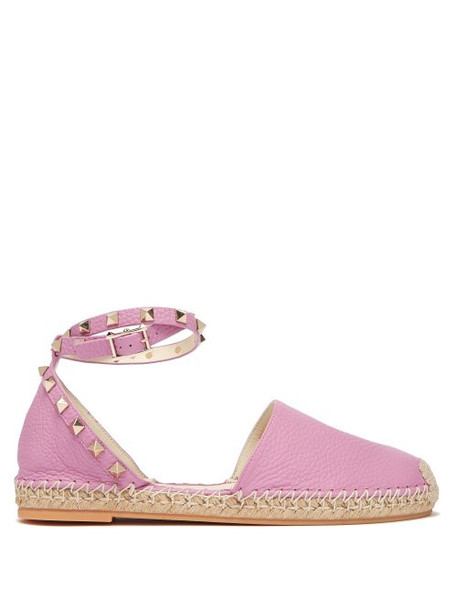 Valentino - Rockstud Wraparound Strap Leather Espadrilles - Womens - Pink